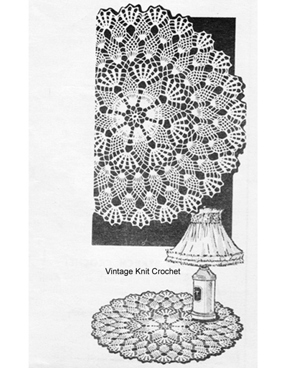 Small Pineapple Doily Crochet pattern, Mail Order 869