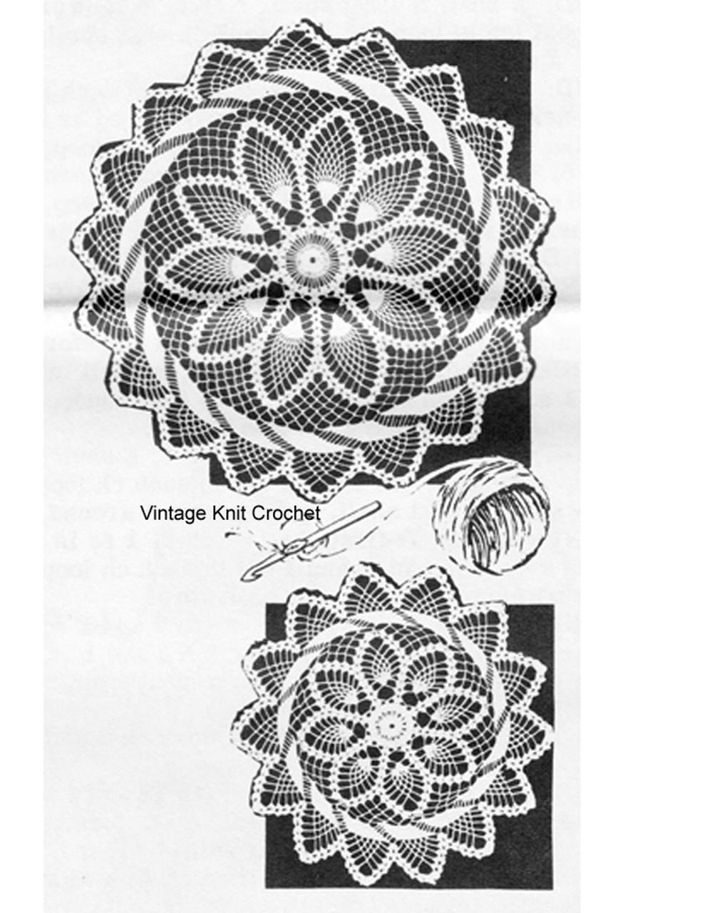 Pineapple Crocheted Swirl Doily Pattern, Laura Wheeler 781