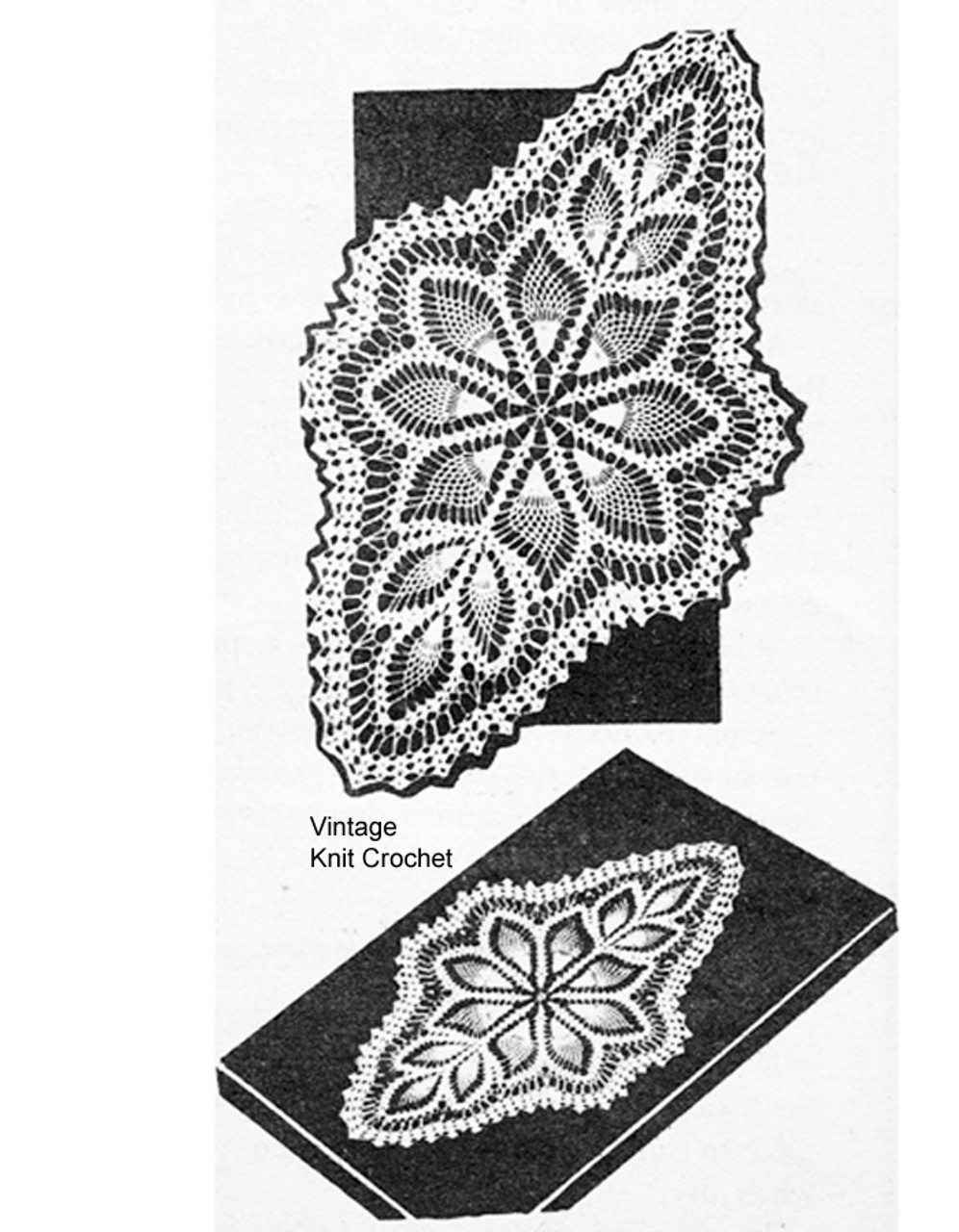 Oval Crocheted Doilies Pattern, Pineapple Stitch, Alice Brooks 7274