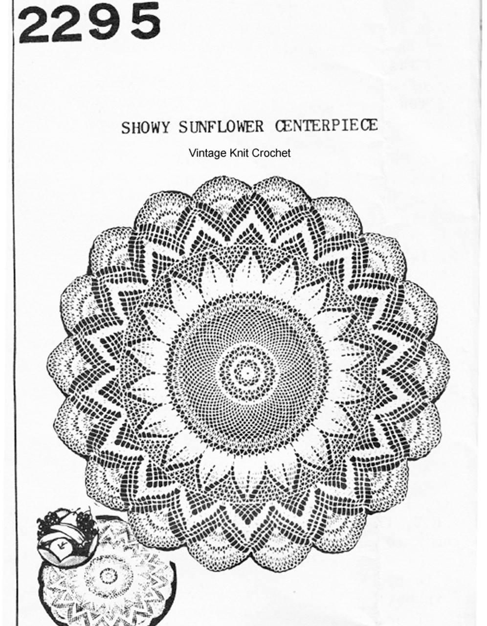 Mail Order Crochet Sunflower Doily Pattern No 2295