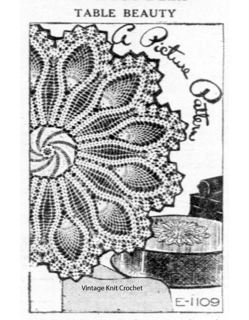 Crochet Pinwheel Doily Pattern in Pineapple No E-1109