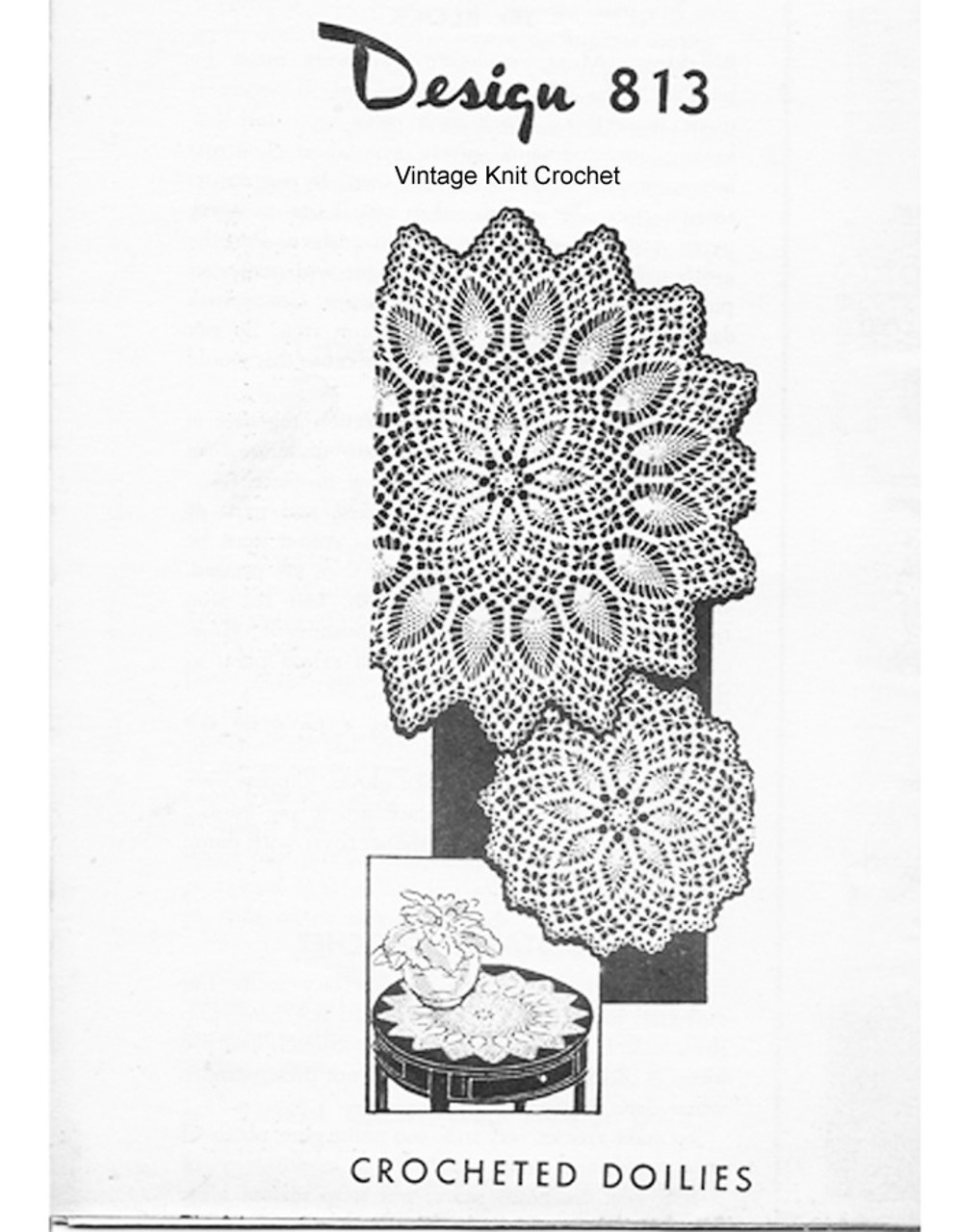 Spiderweb Crochet Pineapple Doily Pattern, Design 813