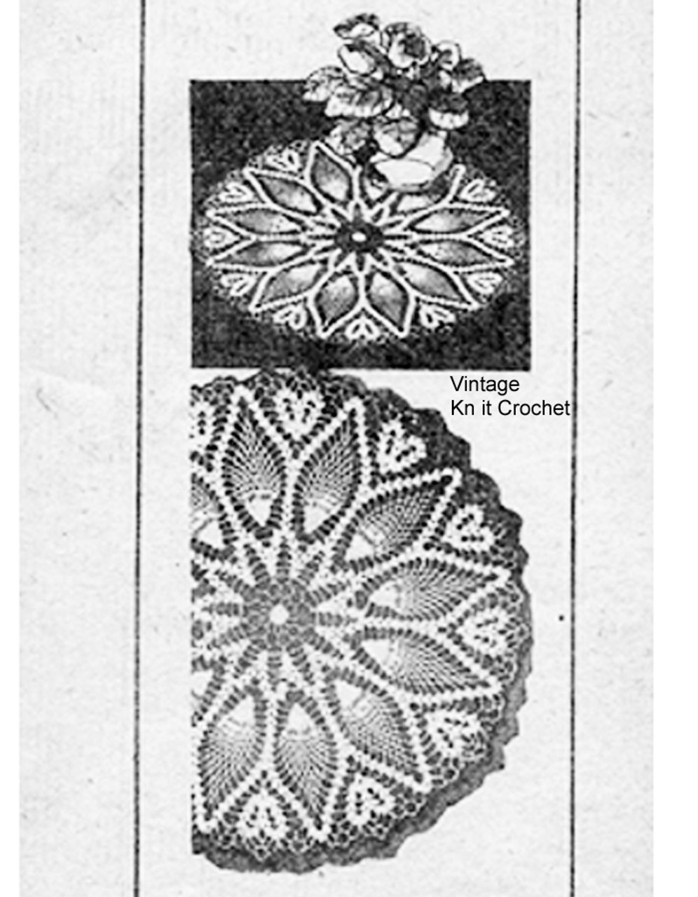Pineapple Flower Centerpiece Doily Pattern, Laura Wheeler 787