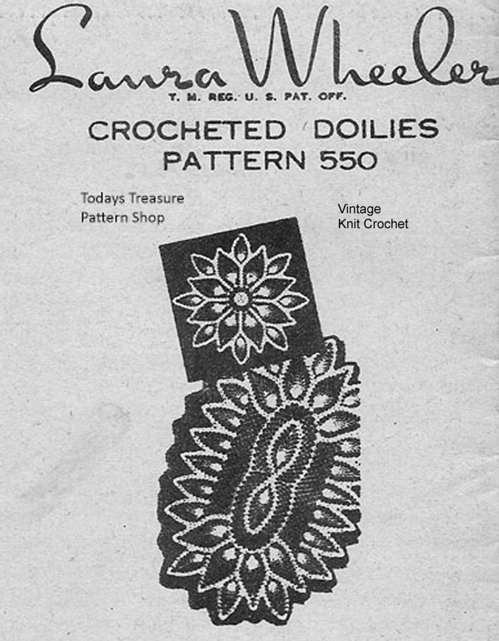 Oval Pineapple Centerpiece Doily pattern, Mail Order 550