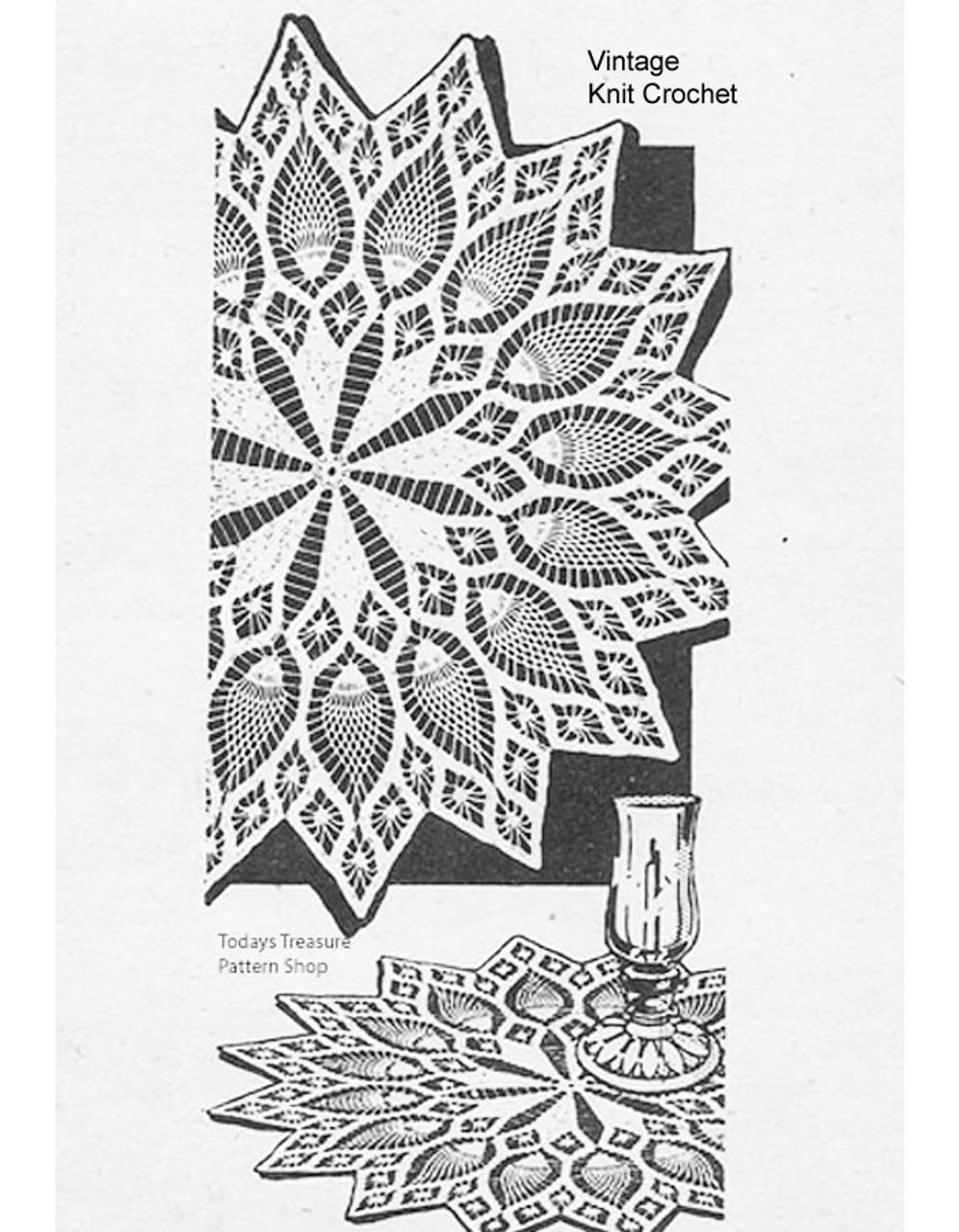 Vintage Crochet Doily Pattern, Pineapple Large Small Design 7215