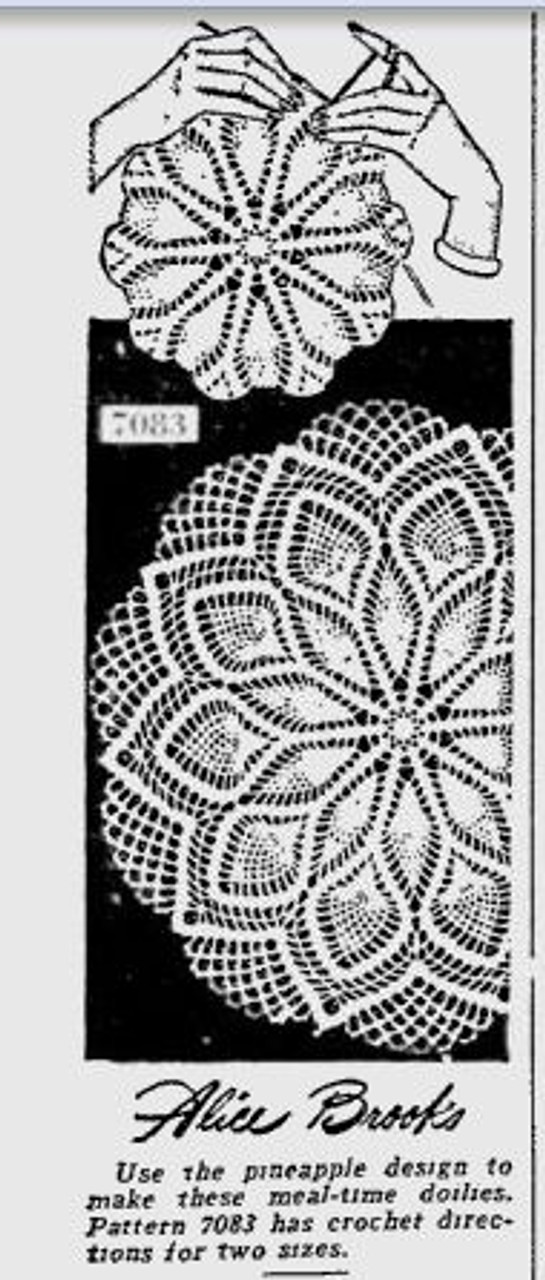 Alice Brooks 7083 Newspaper Advertisement