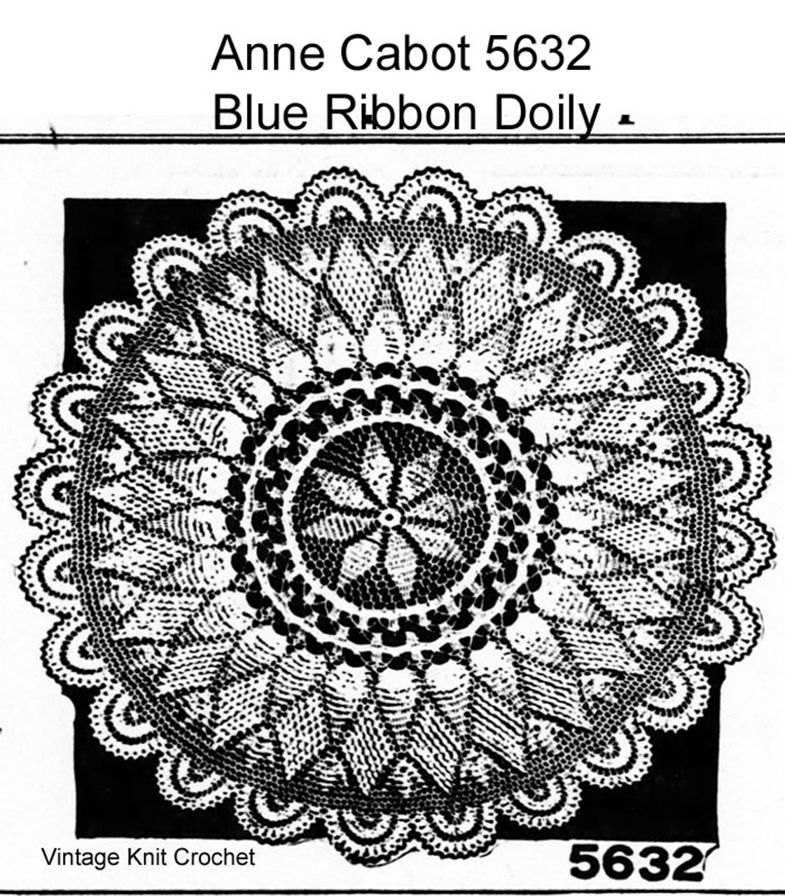 Crochet Centerpiece Doily Pattern, Mail Order 5632