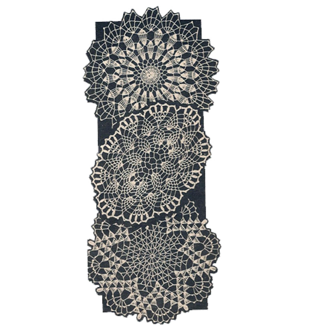 Star, Pineapple Wheel Crochet Doilies Pattern Mail Order 3088