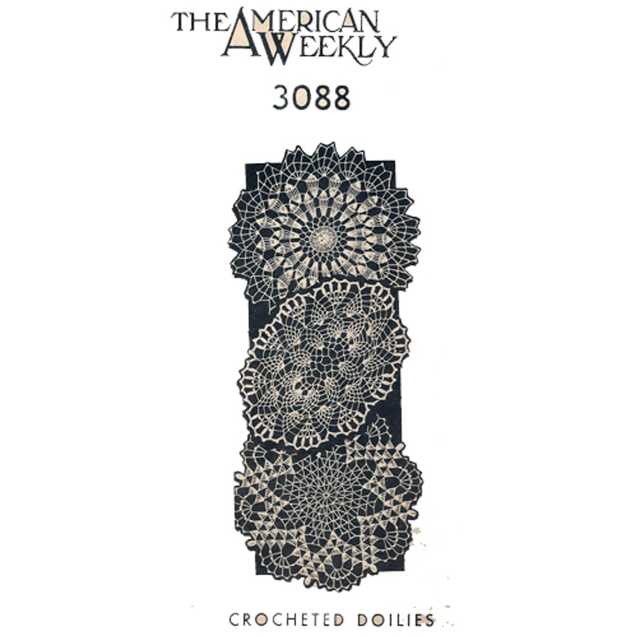 Three Vintage Crochet Doilies Pattern American Weekly 3088