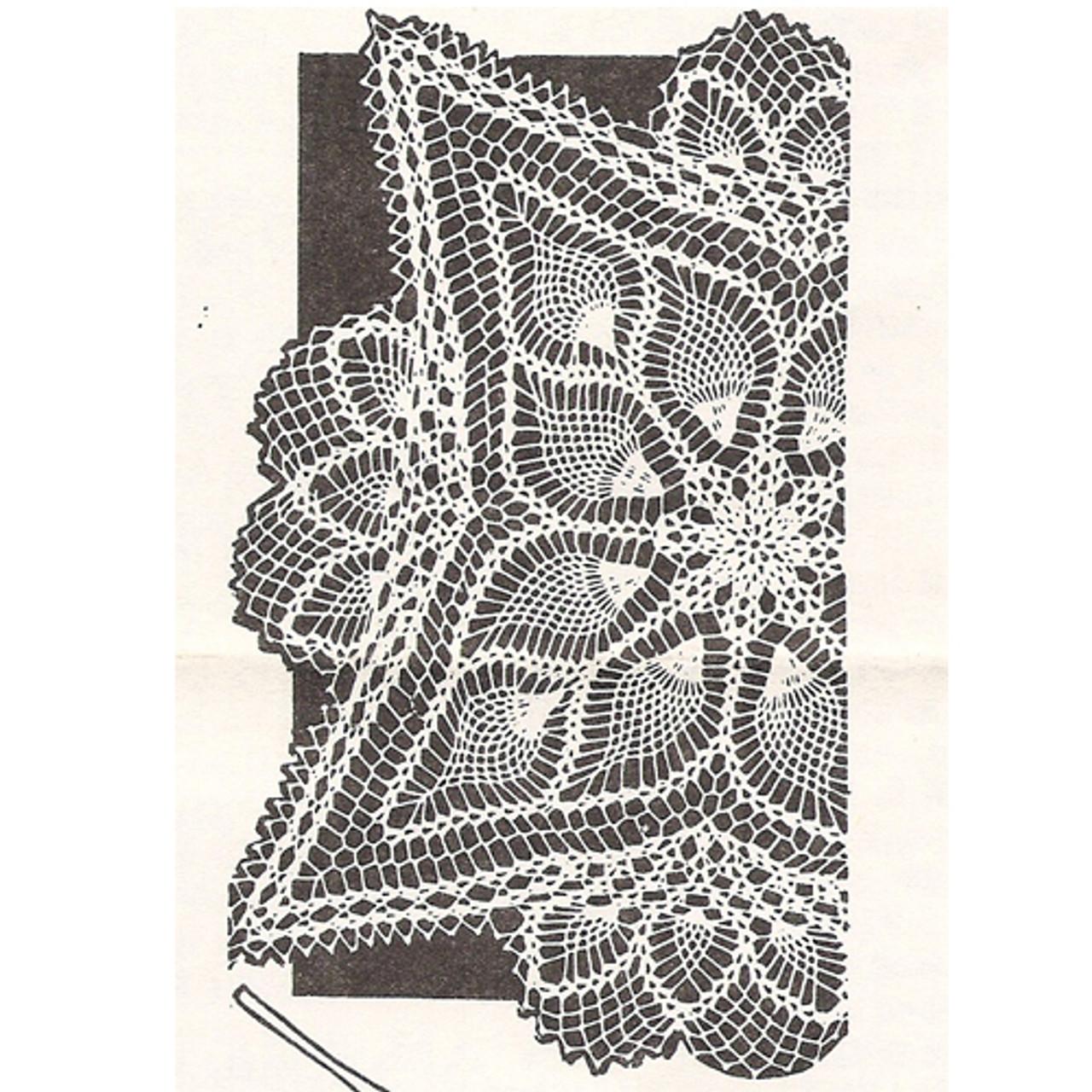 Square Crocheted Pineapple Doily Pattern Design 7209