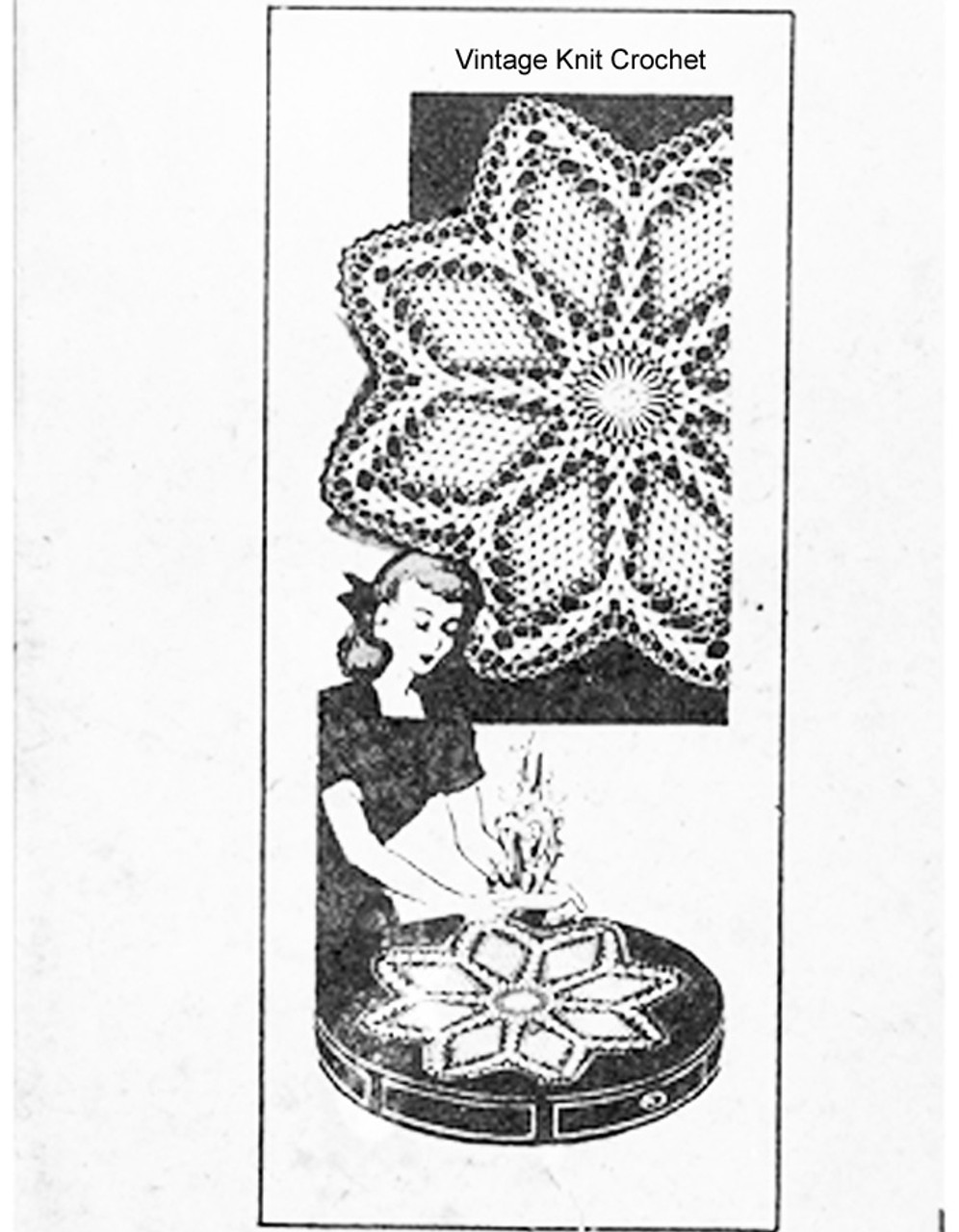 Large crocheted star doilies pattern, Mail Order 857
