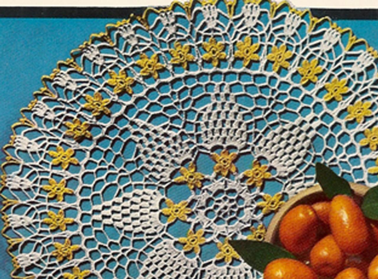 Pineapple Crochet Doily pattern, Orange Blossom