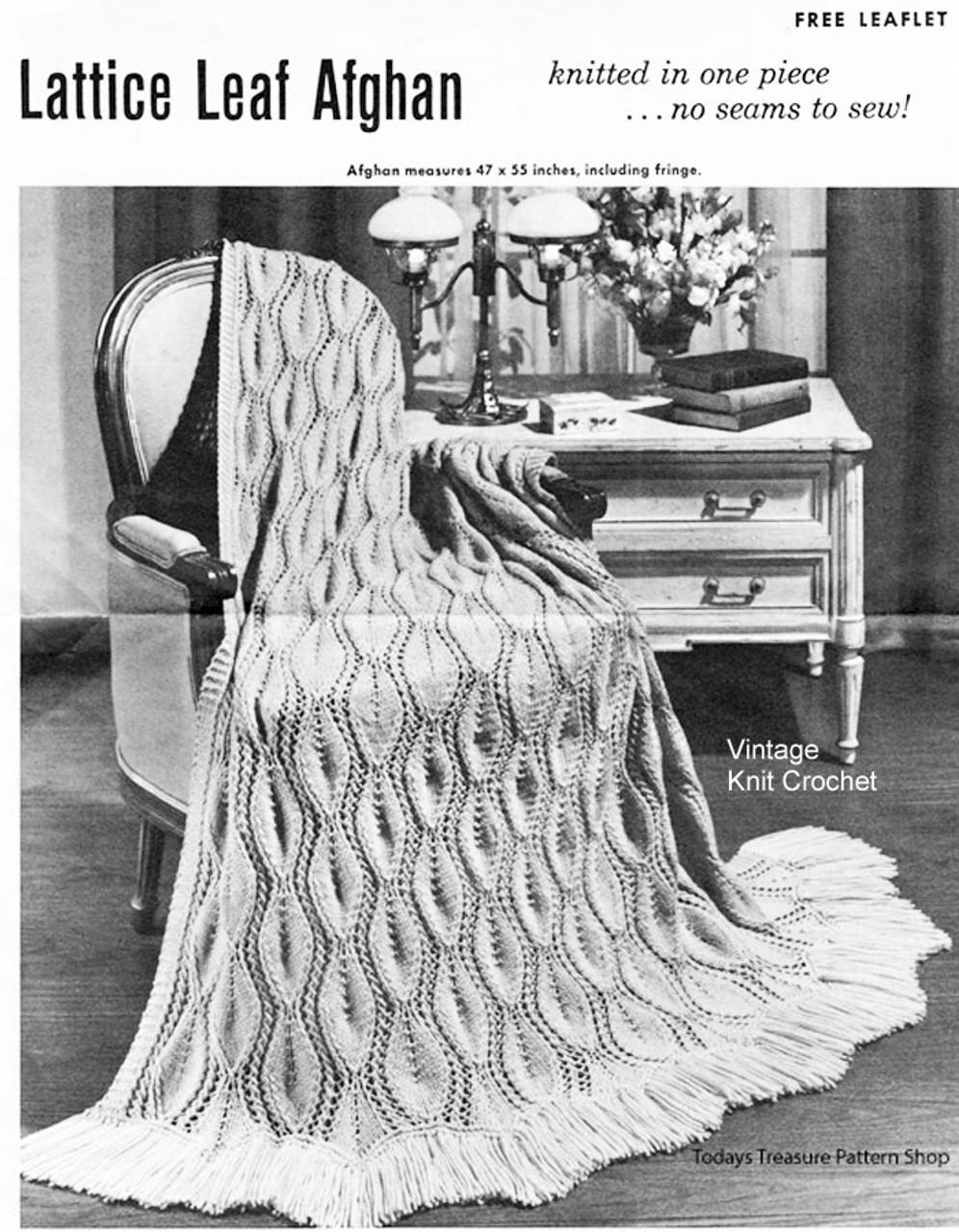Leaf Afghan Knitting Pattern No w-967