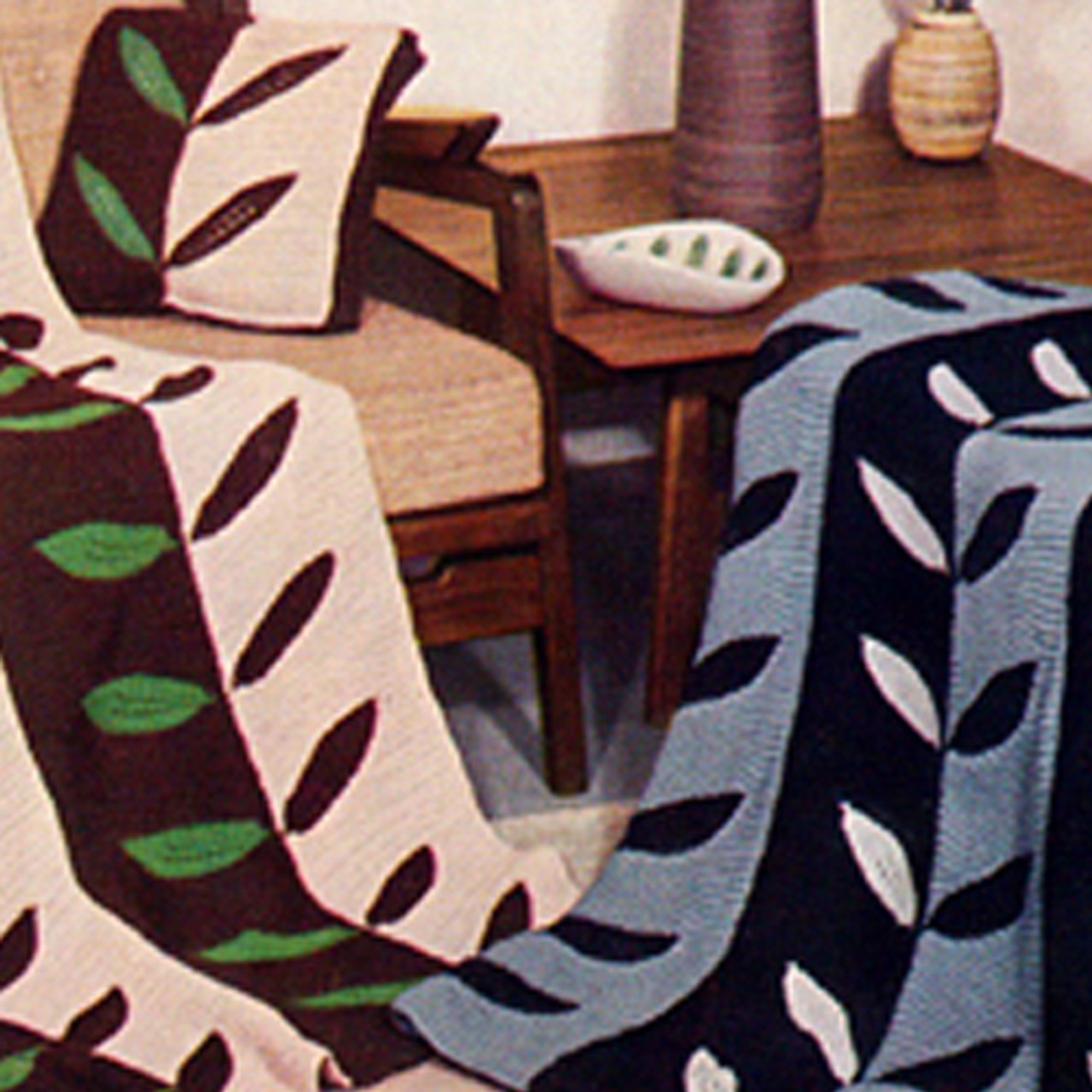 Easy Leaf Crocheted Afghan Pattern in stripes