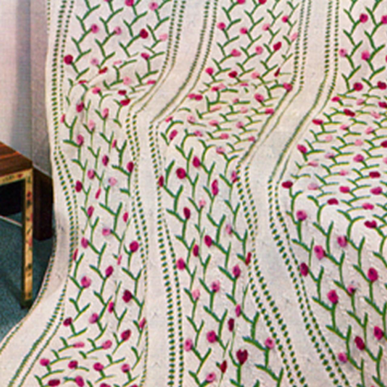 Vintage Knitted Rosebud Afghan Pattern from Bernhard