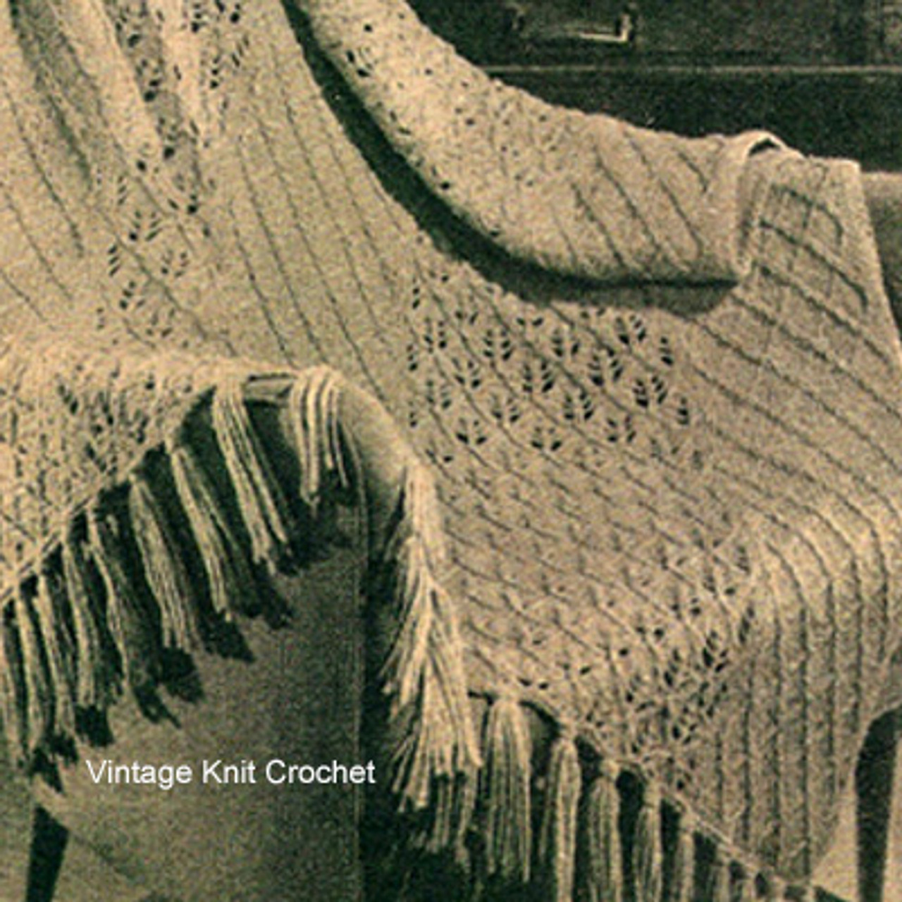 Knitted Lattice Afghan Pattern, Vintage 1950s from Workbasket