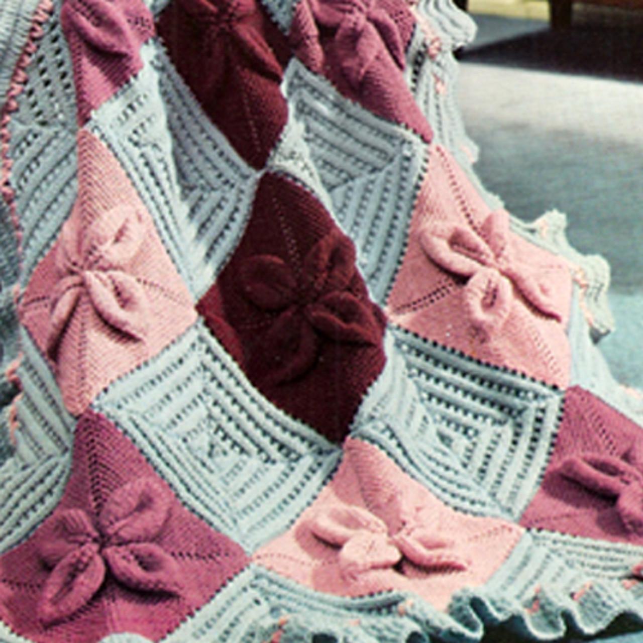 Knitted Nantucket Afghan Pattern, Vintage 1960s