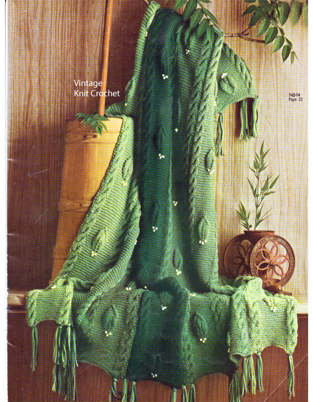 Cable Afghan Knitting Pattern, Raised Leaf, No 742-14
