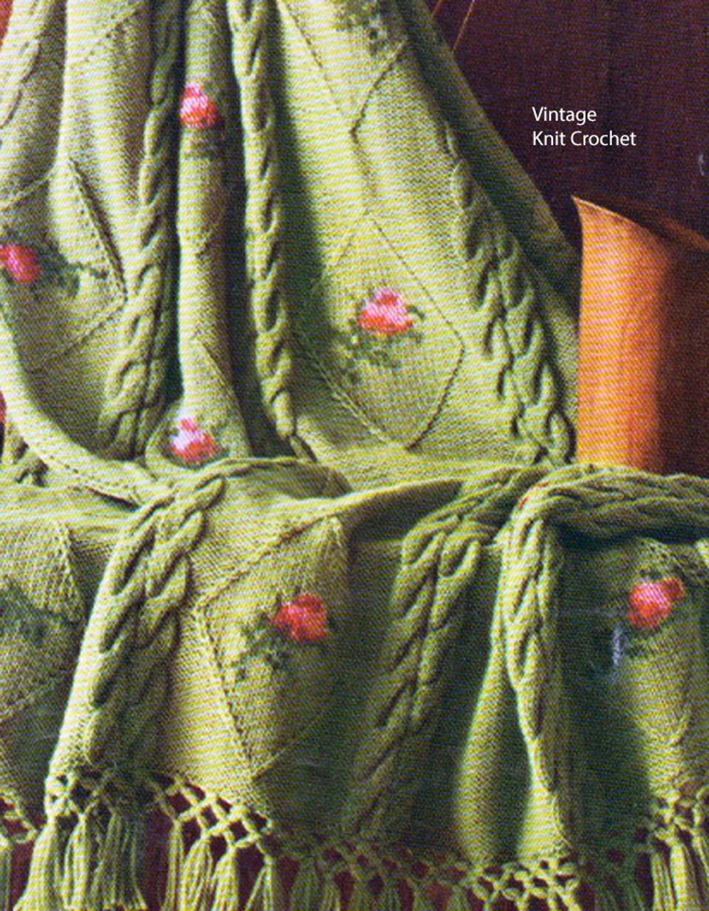 Vintage Knitted Afghan Pattern, Triple Knot Fringe