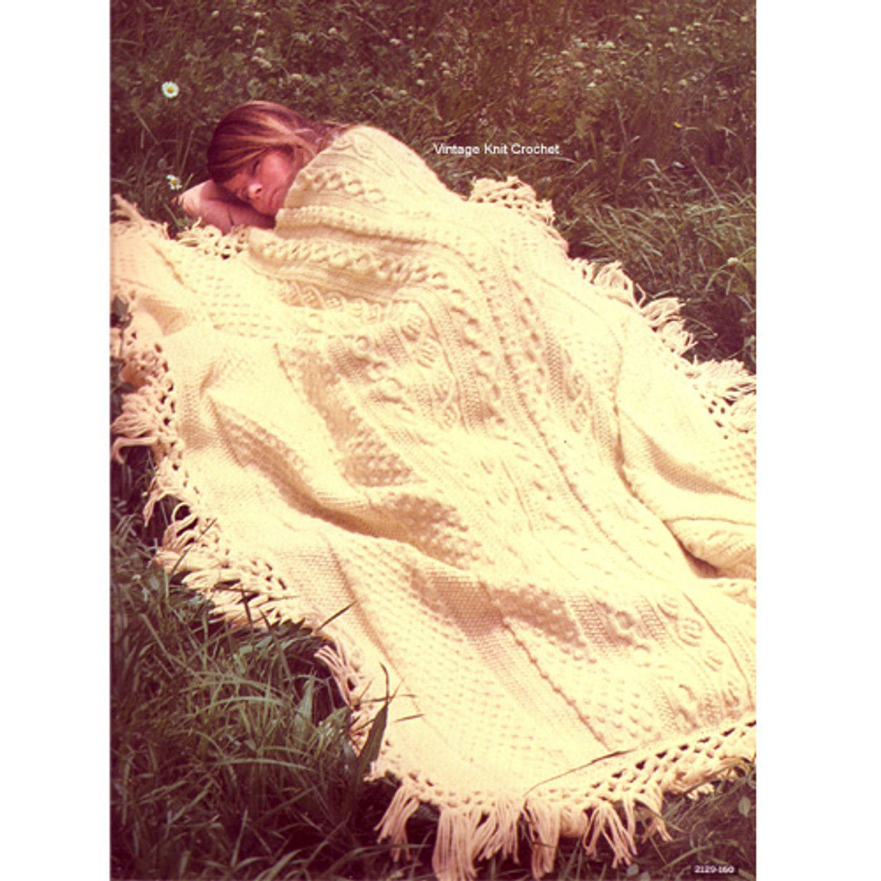 Aran Cabled Afghan Crochet Pattern, Fringed