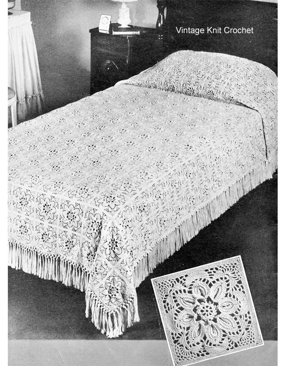 Crochet Bedspread pattern, flower squares