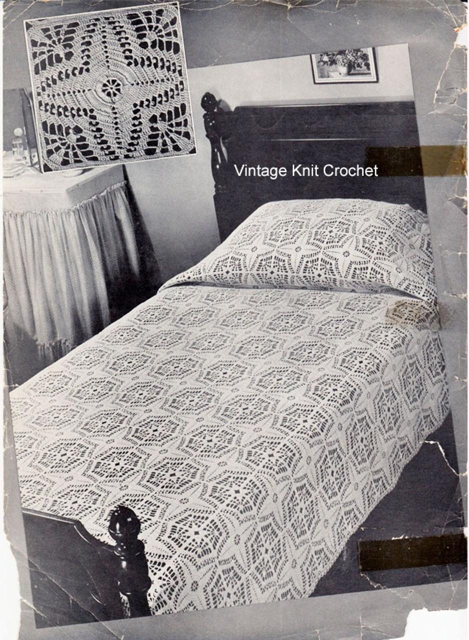 Crochet bedspread pattern in lacet stitch