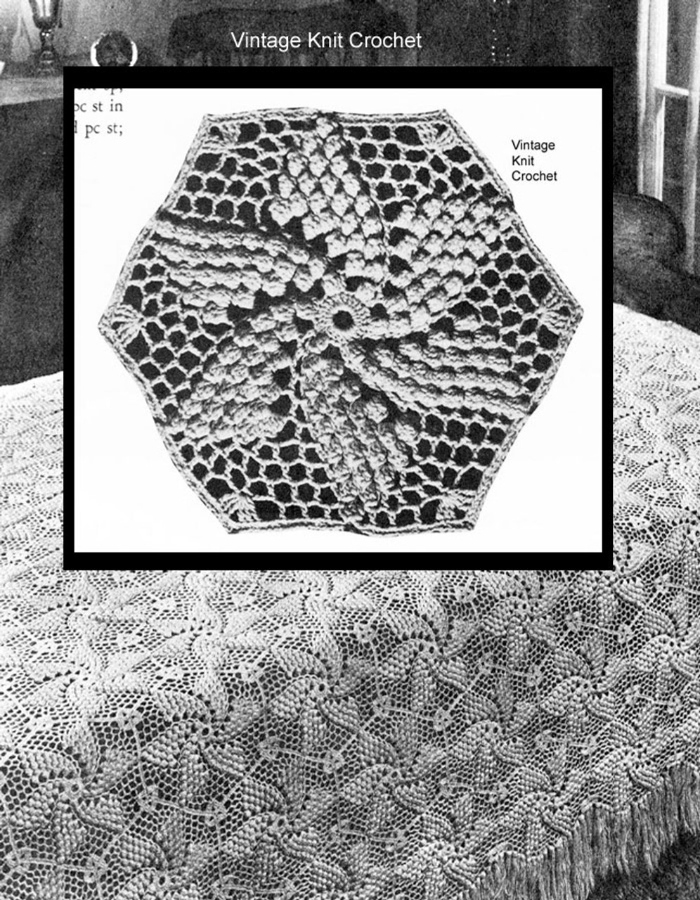 Crochet Pinwheel Bedspread pattern No 682
