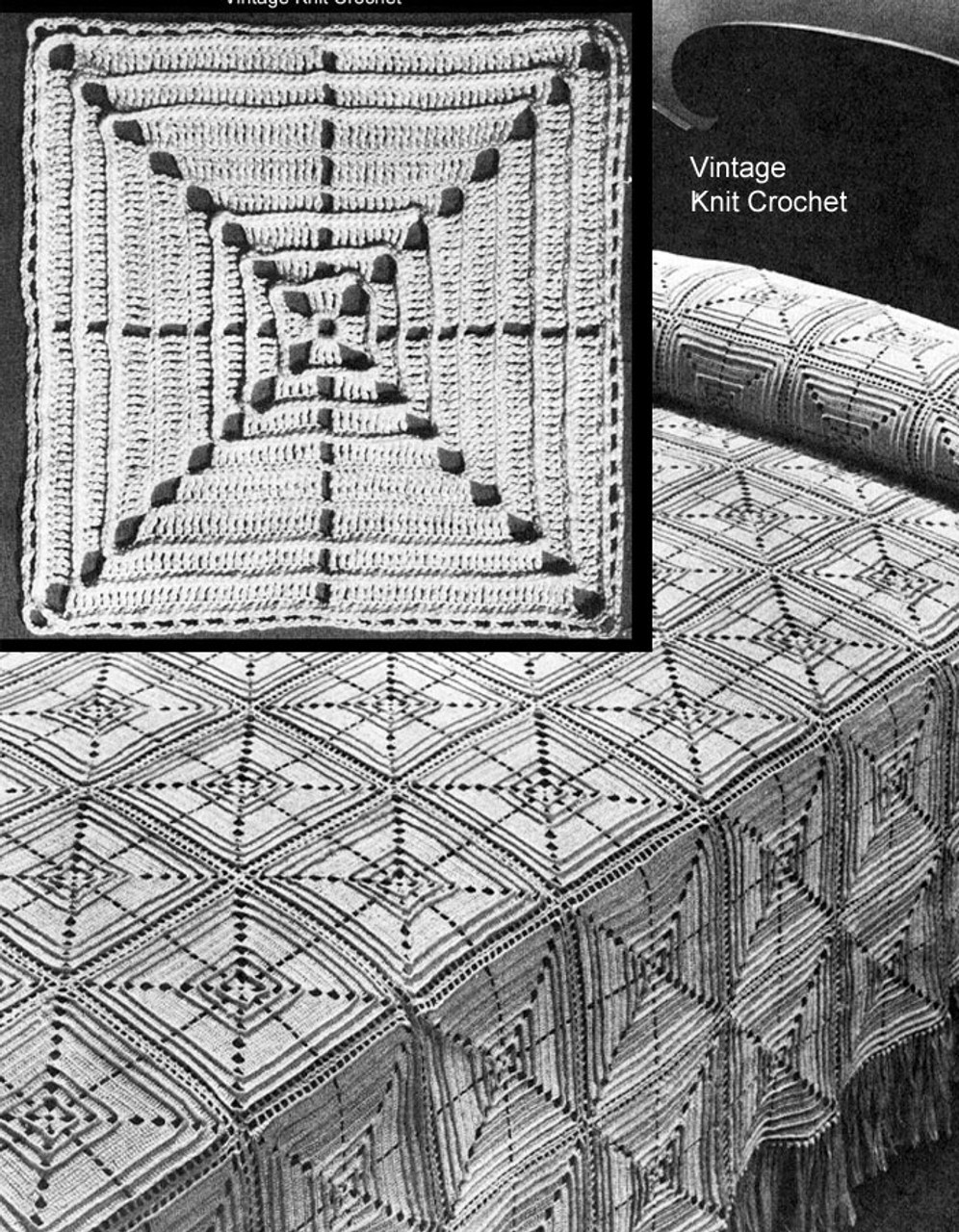 Crochet Bedspread Pattern, 8 inch blocks