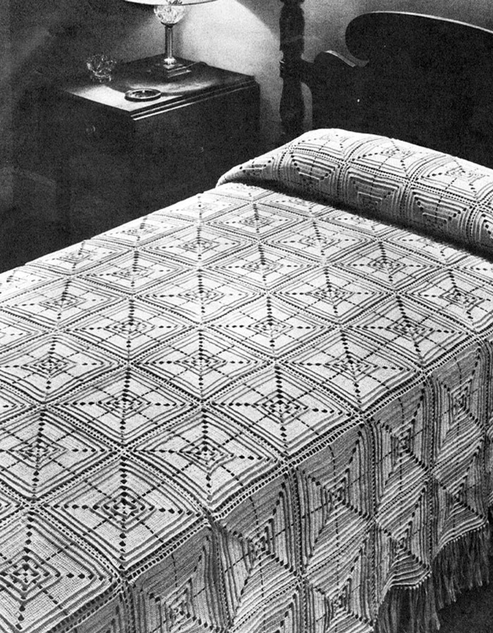 Vintage Crochet Square Pattern for Bedspread No 6131