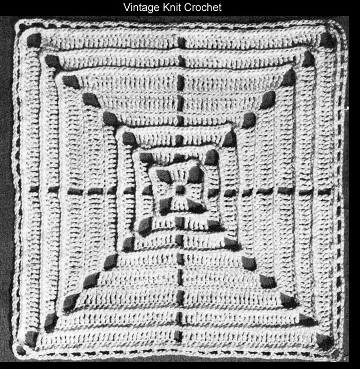 Crochet 8 inch square pattern illustration