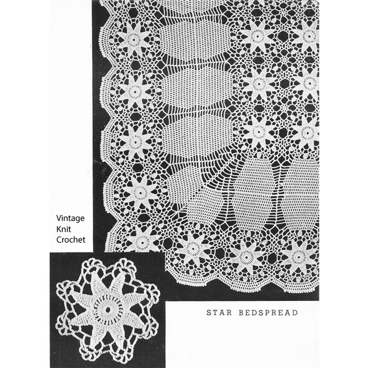Vintage Lily Mills Crochet Star Medallion Bedspread Pattern No 623