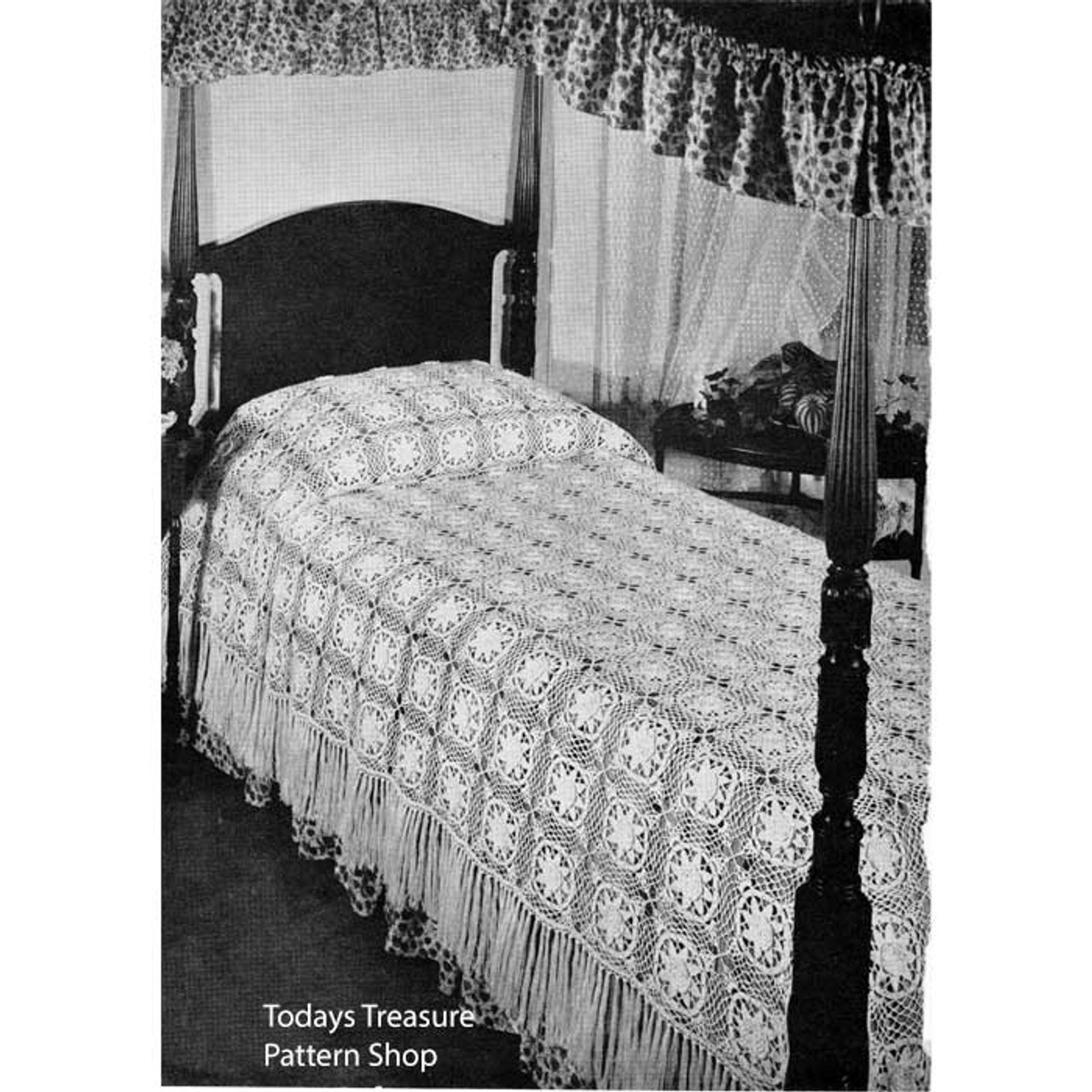 Crocheted Water Lily Bedspread Pattern, Vintage 1950s