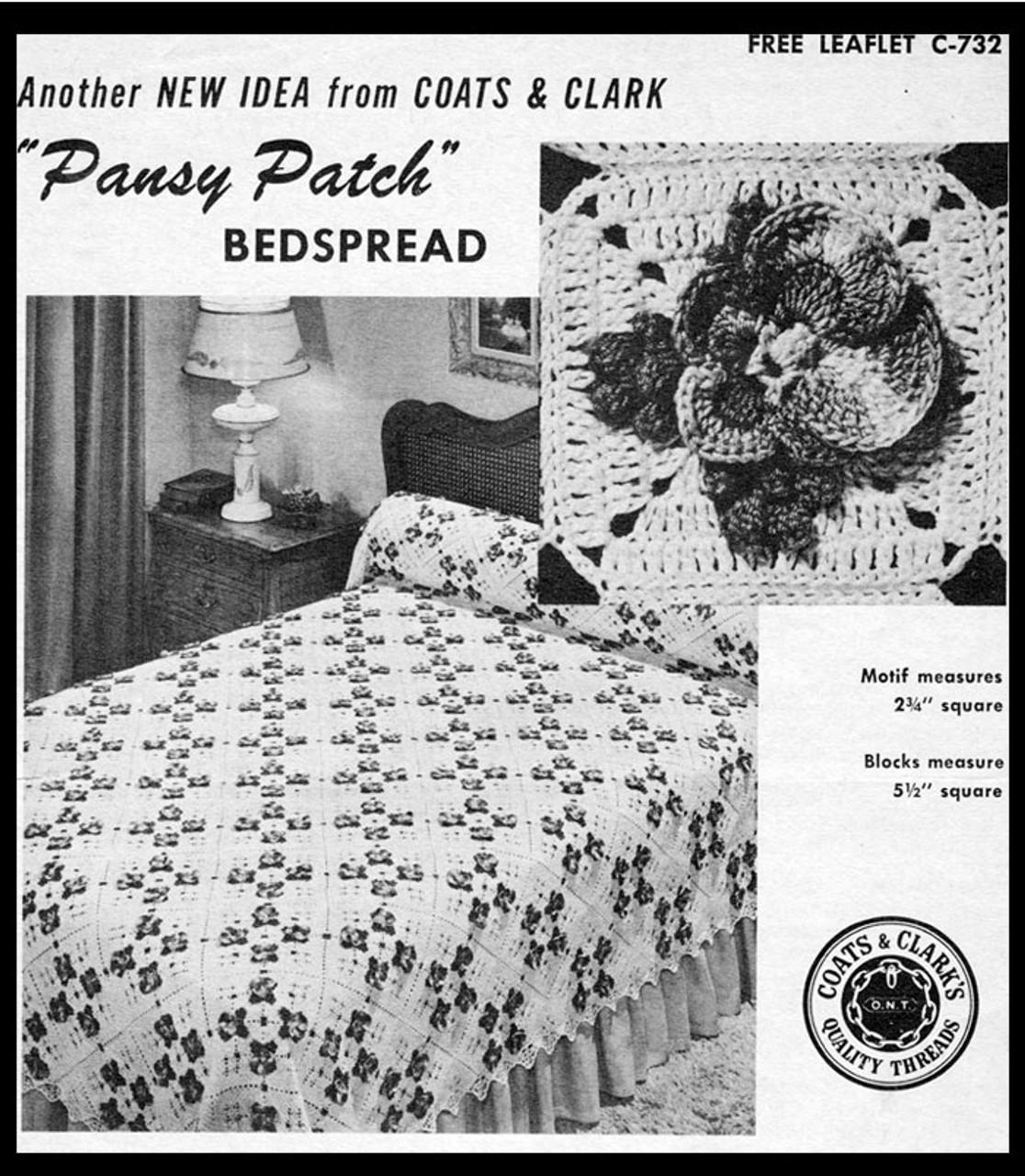 Pansy Patch Bedspread, Coats Clark Leaflet C732