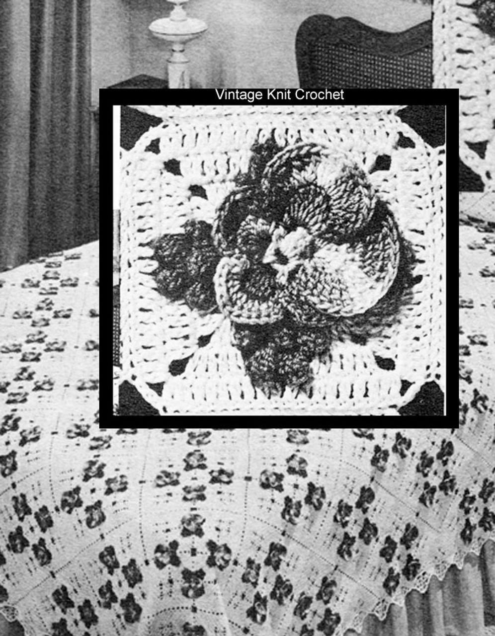 Vintage Pansy Crochet Bedspread Pattern Leaflet C732