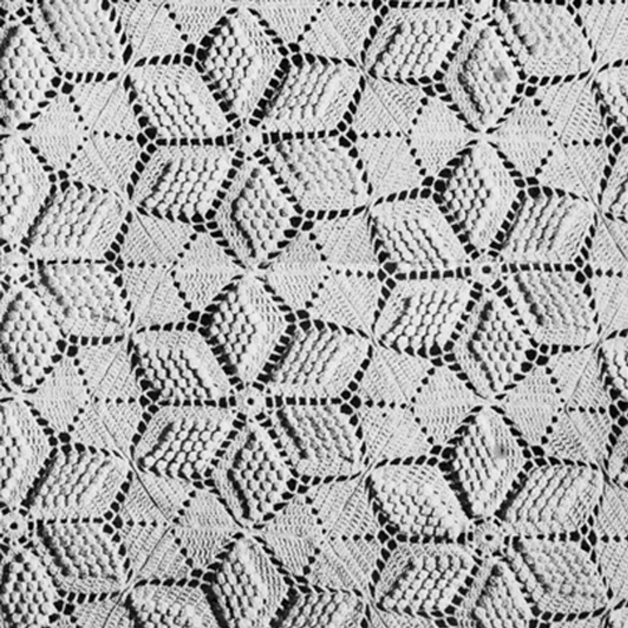Popcorn Star Crochet Bedspread Pattern, Vintage 1940s