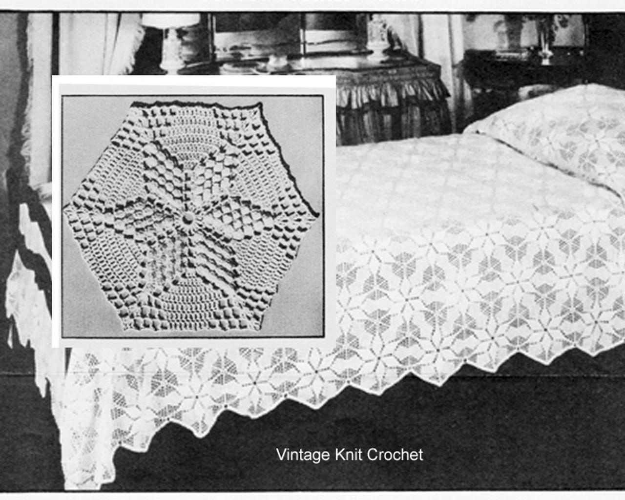 Crochet Star Bedspread Pattern in Popcorn Stitch