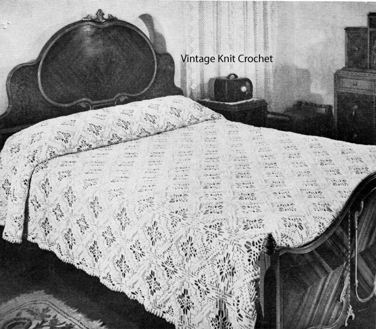 Vintage crochet bedspread pattern, Jeweled Cross