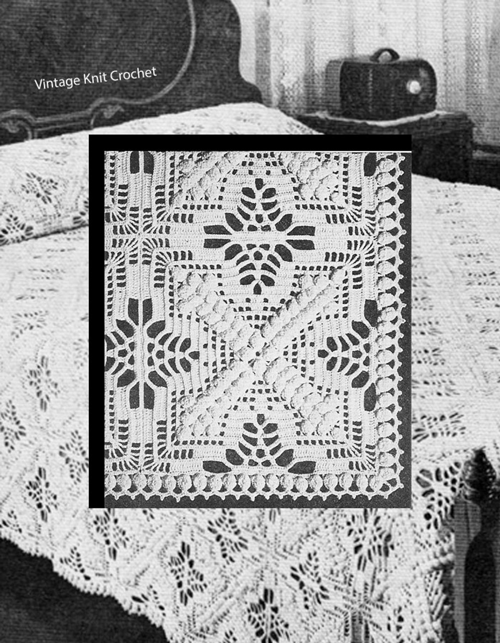 Crochet Bedspread Pattern, Jeweled Cross