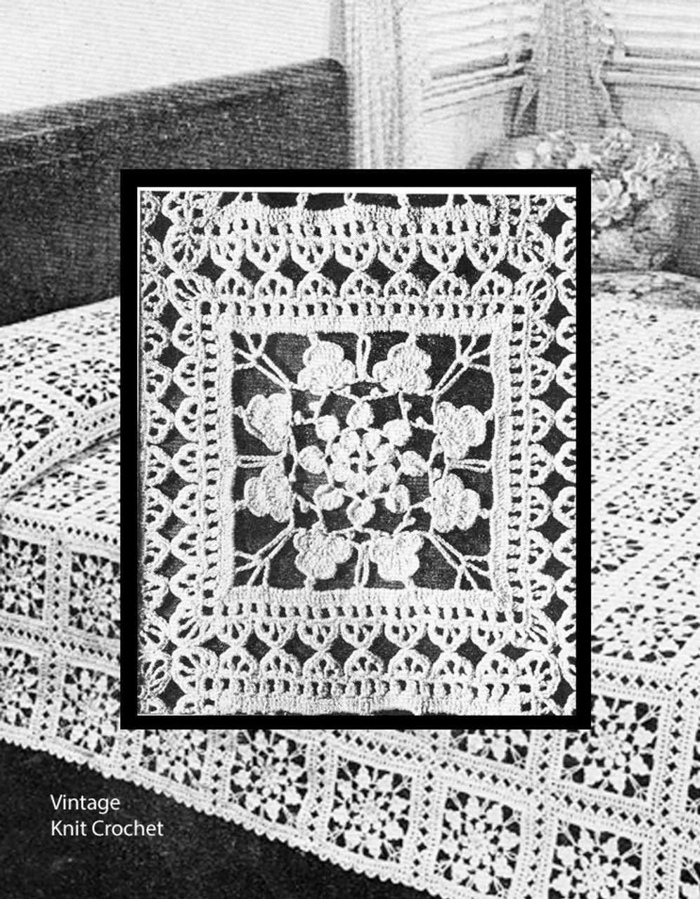 Crochet Flower Lace Bedspread Square, Fairy Ring
