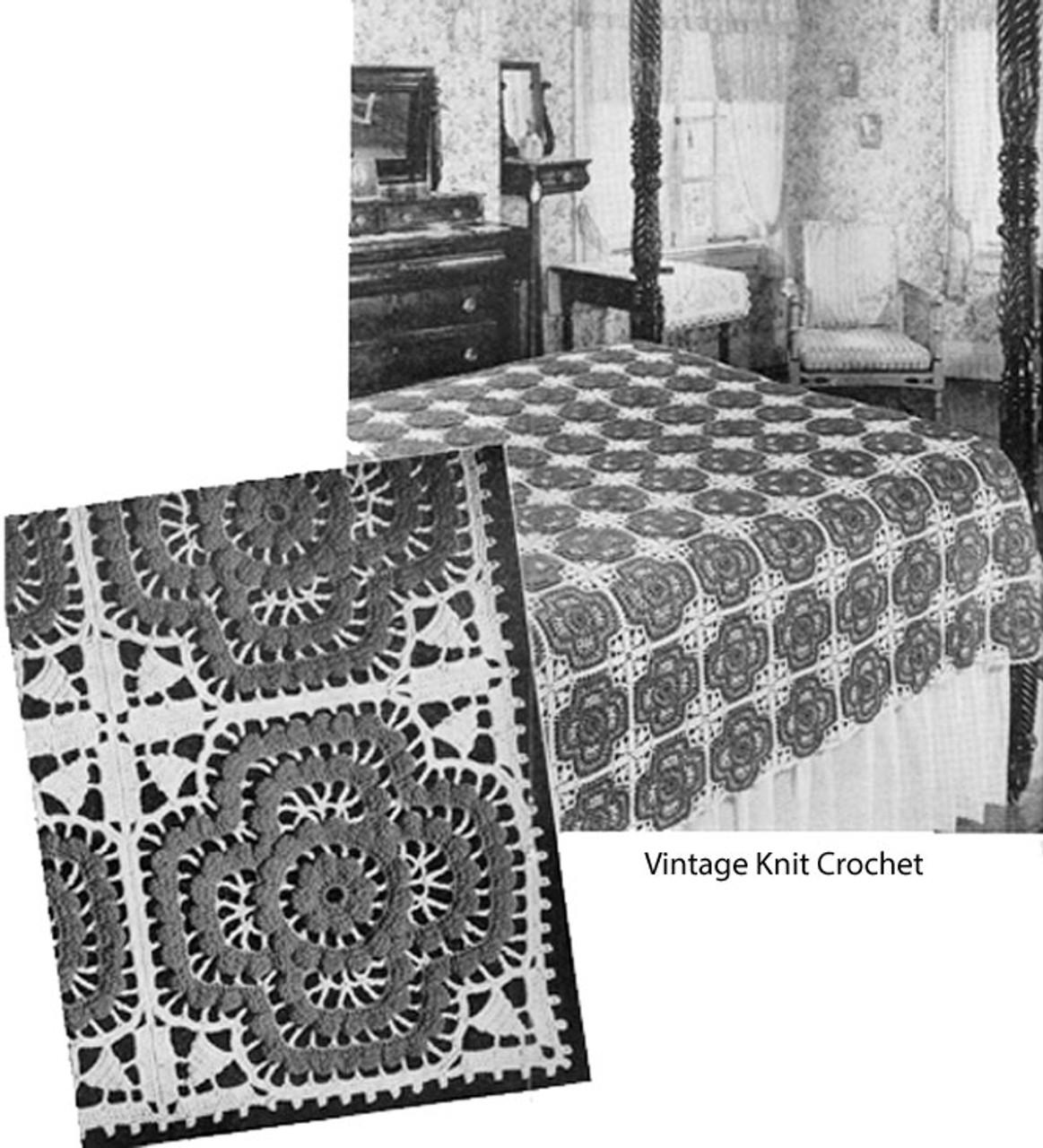 Vintage Rosette Crochet Bedspread Pattern, 1934