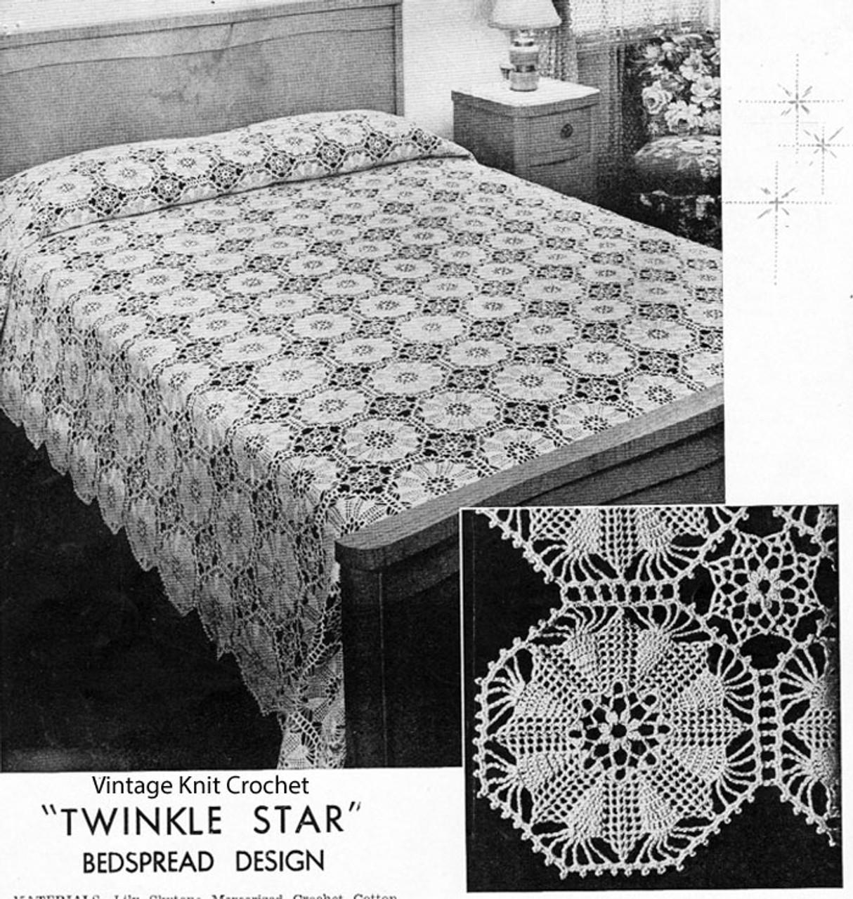 Crochet Star Hexagon Medallion Pattern, Vintage 1934