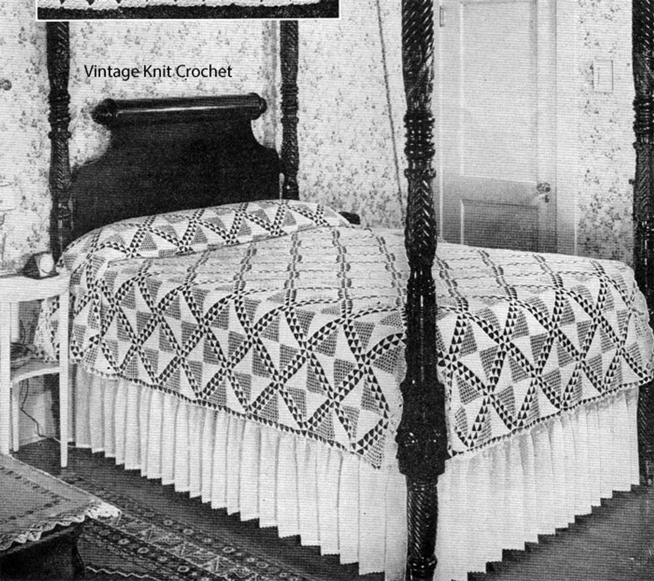 Vintage Triangle Bedspread Crochet Pattern, 1934