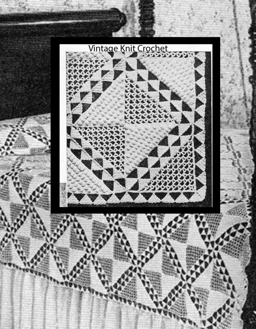 Crochet Bedspread Pattern, Triangles on Parade