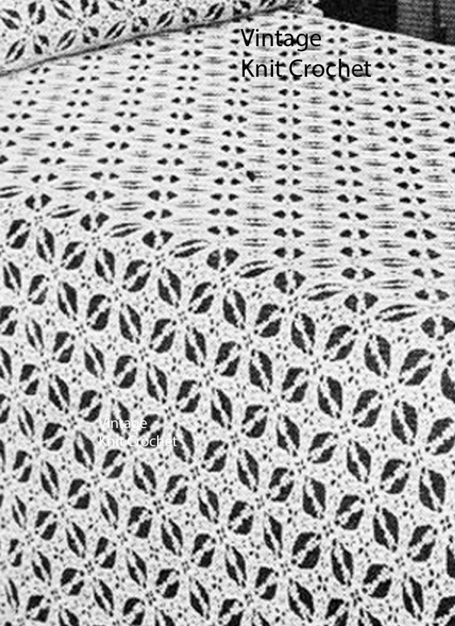 Crocheted Squares Bedspread Pattern, Iris Flower