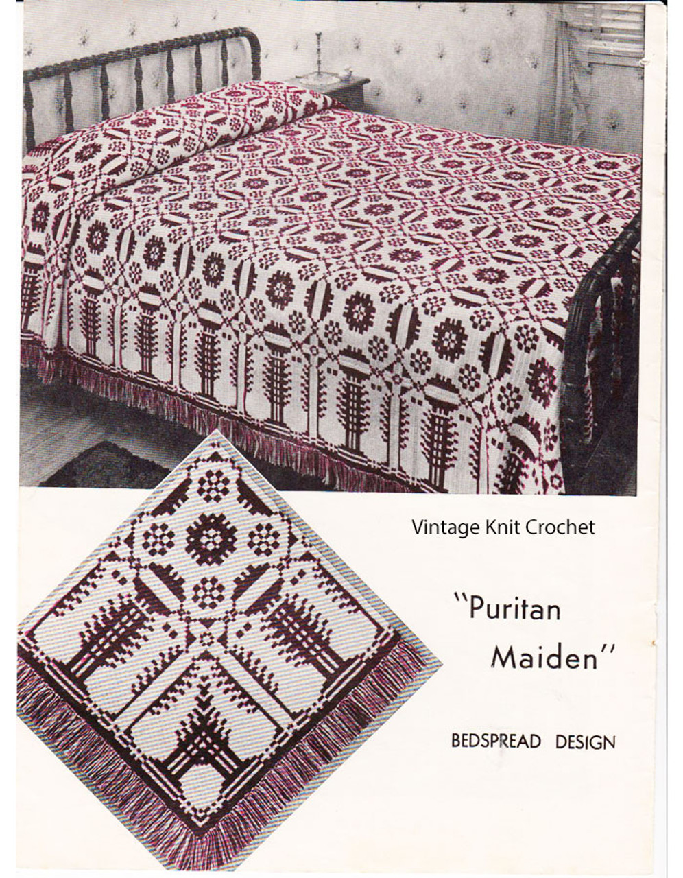 Filet Crochet Bedspread Blocks Pattern, Vintage 1940s