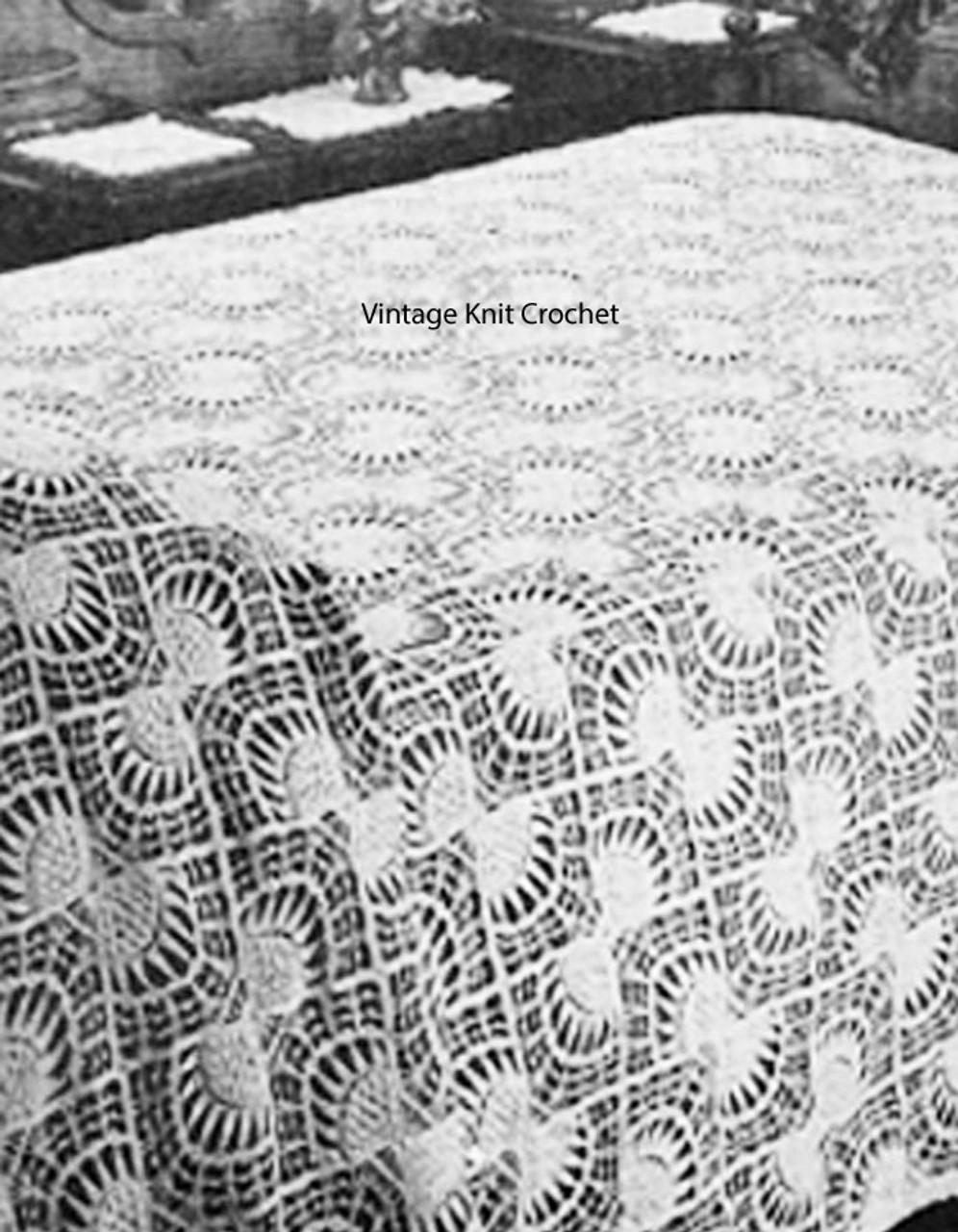 Vintage Crochet Bedspread Pattern, butterfly bows