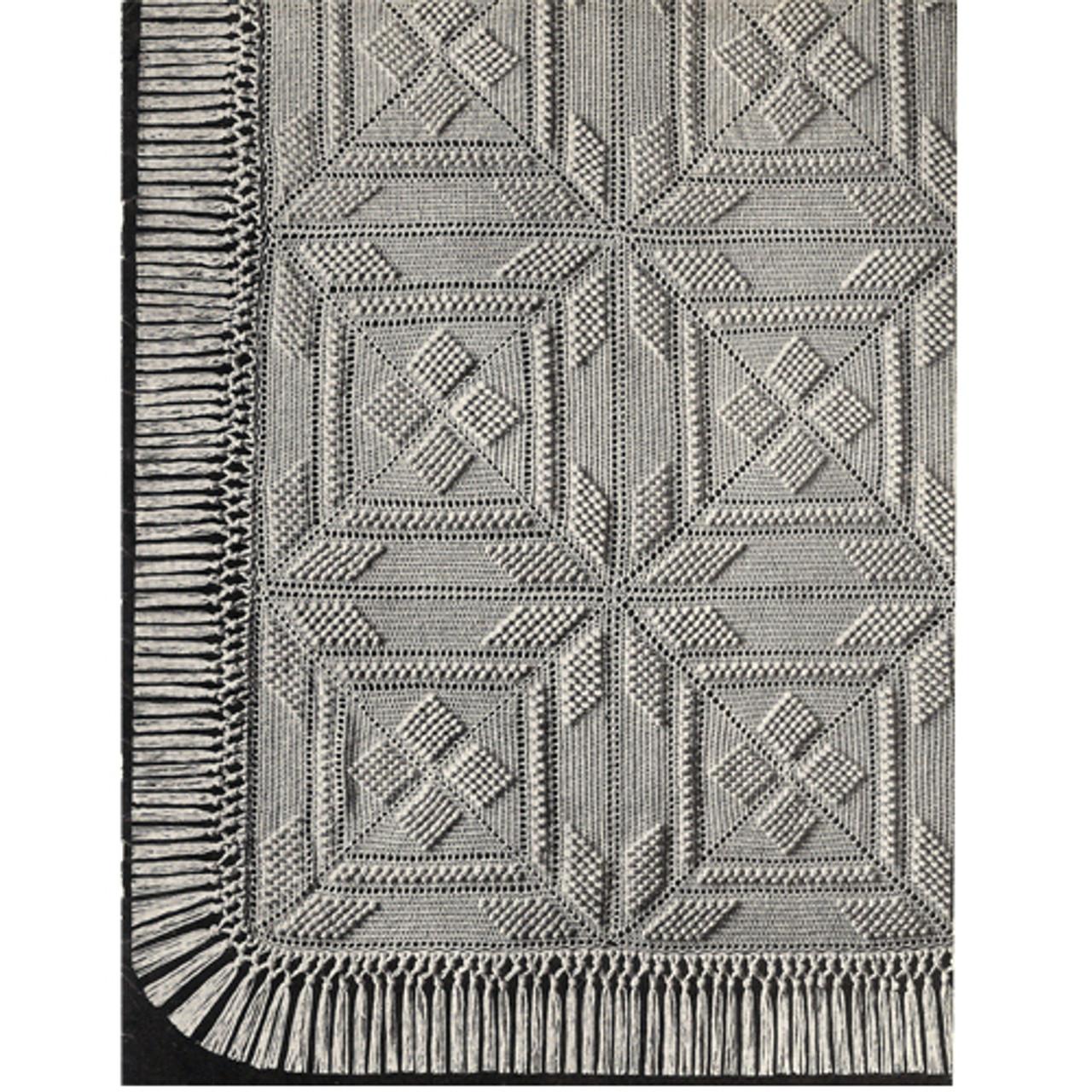 Crochet Bedspread Pattern, Popcorn Squares