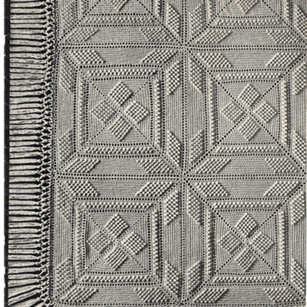 Vintage Popcorn Square fringed bedspread pattern