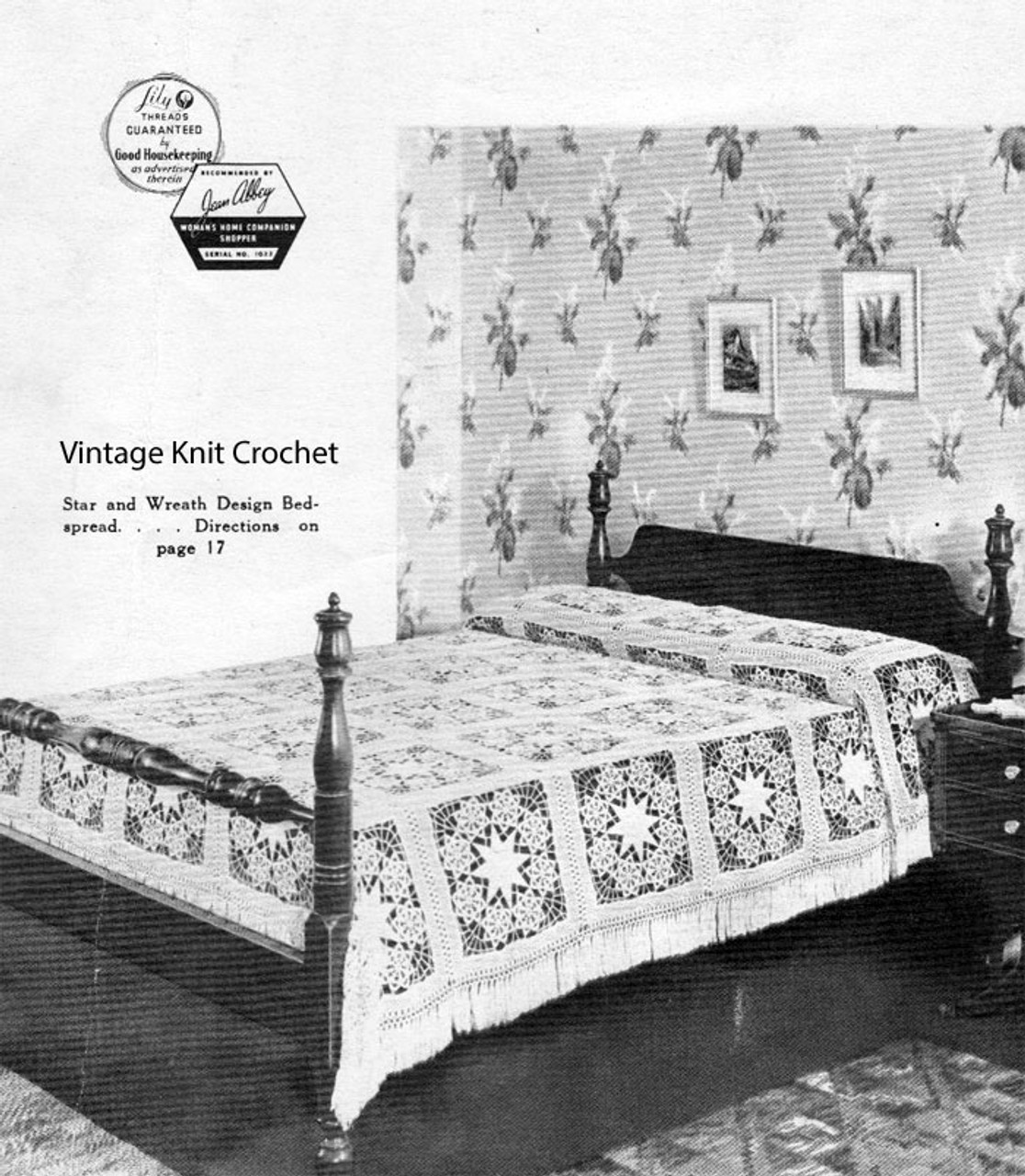 Vintage Star and Wreath Crochet Bedspread Pattern No 809