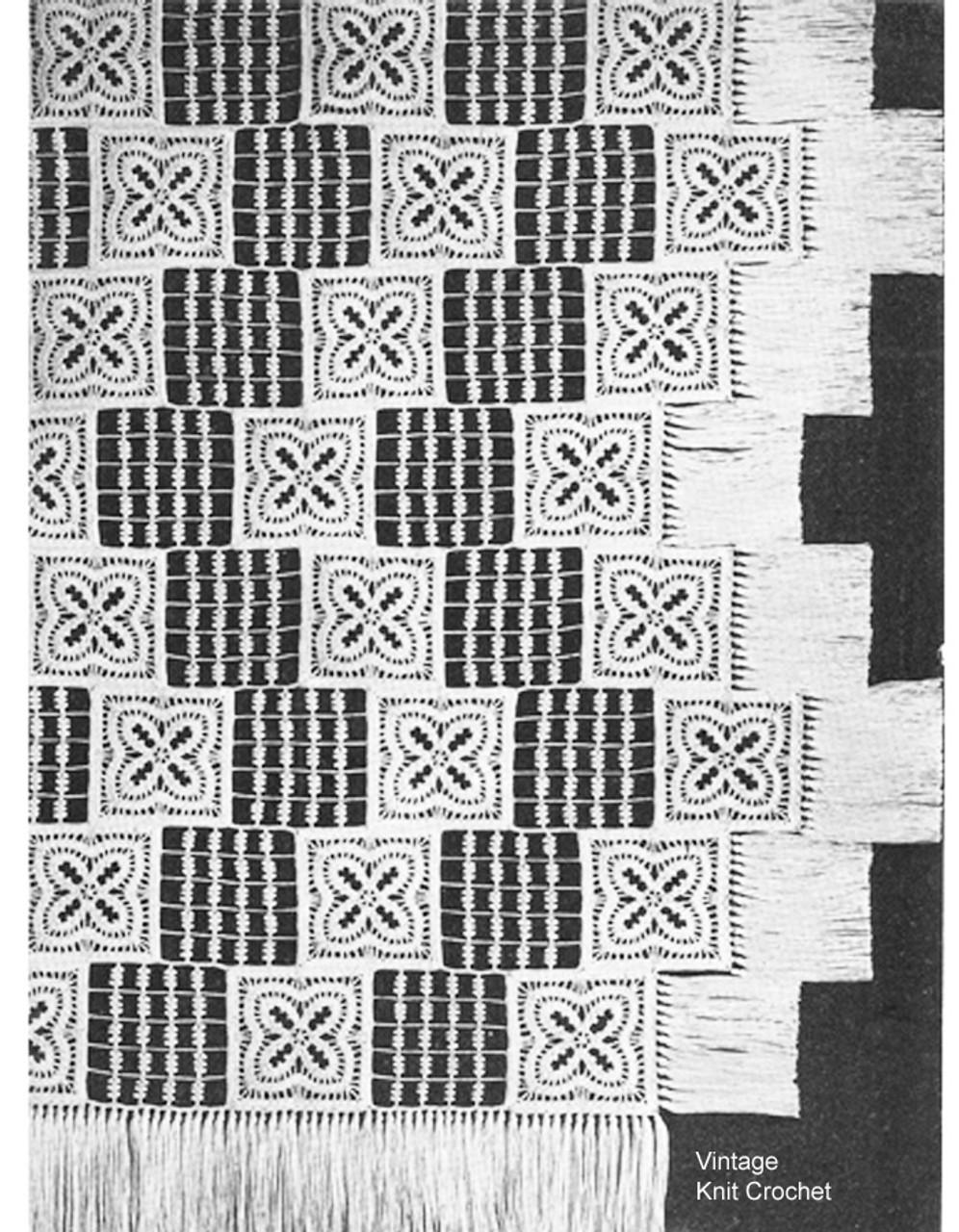 Barred Windows Crochet Bedspread Pattern